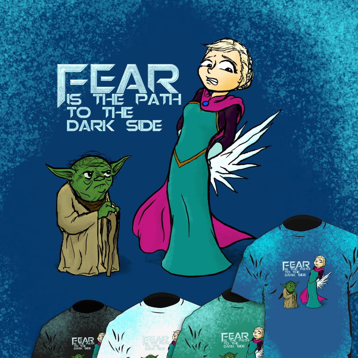 Yoda and Elsa by EarsToHearStudios on Threadless