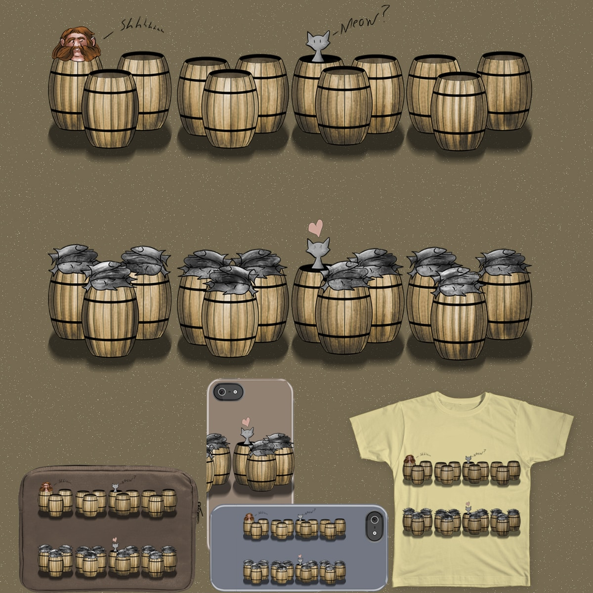Famous Cats_Cats in Barrels by OliverDemers on Threadless