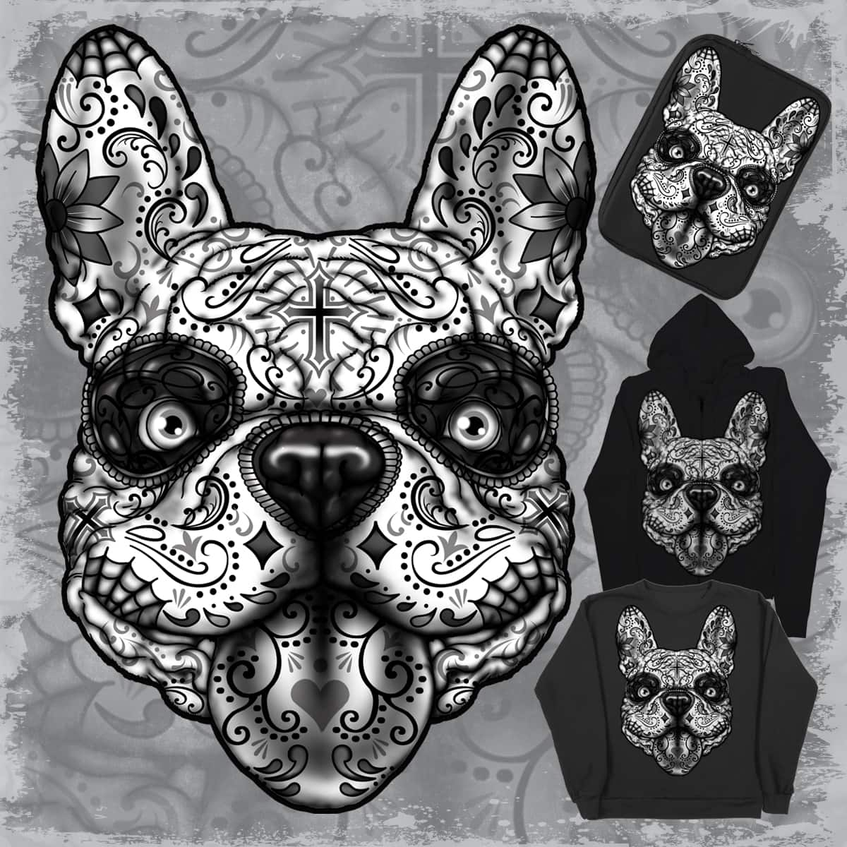 Dia de los Muertos french bulldog  style by miguel montalvo on Threadless