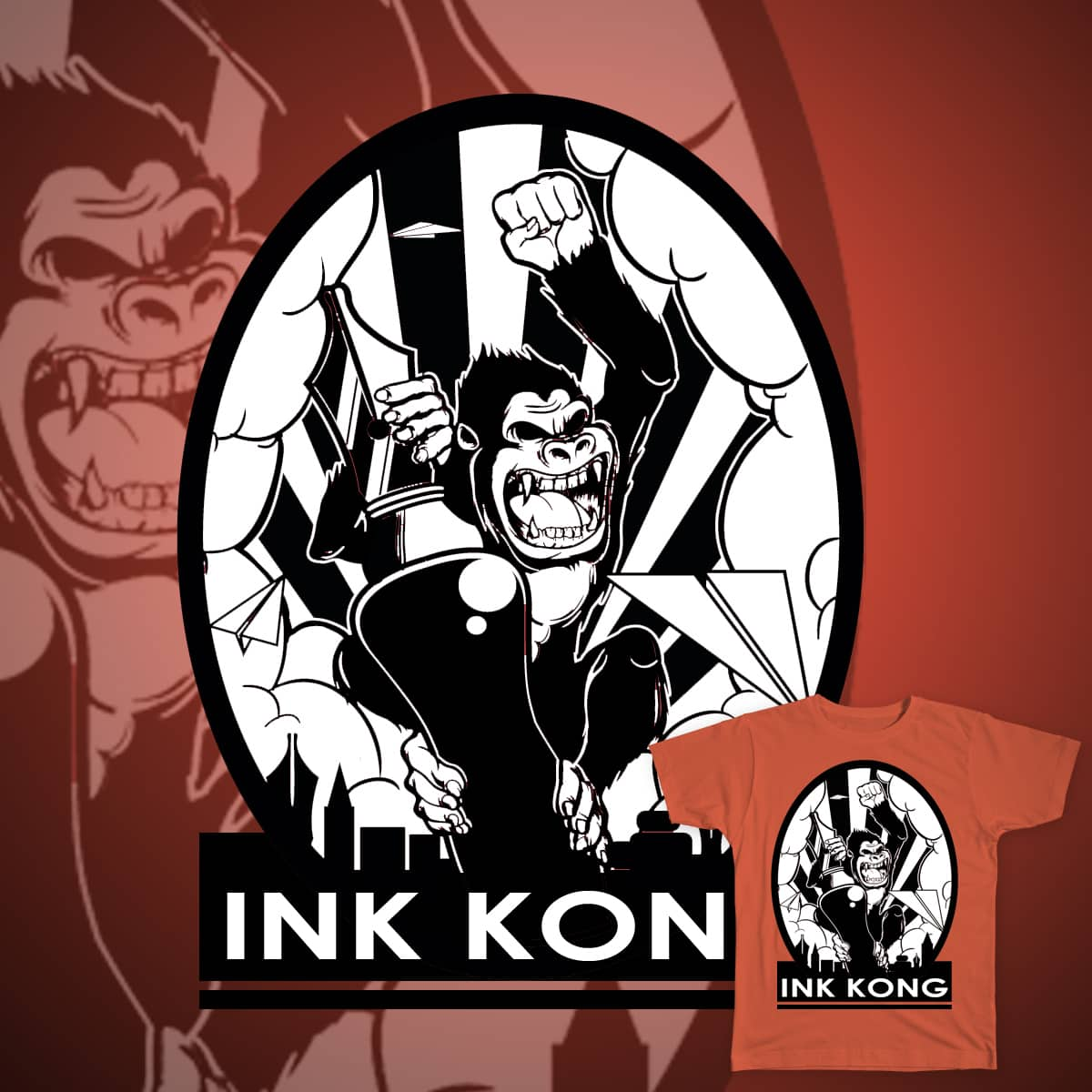 """InkKong"" by erwins.geluz on Threadless"