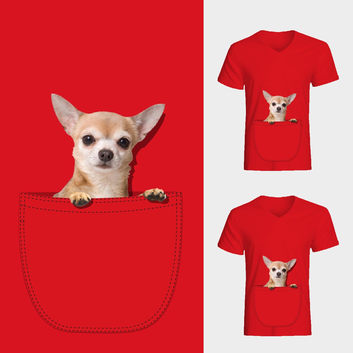 Chihuahua in big pocket by chachacillas on Threadless