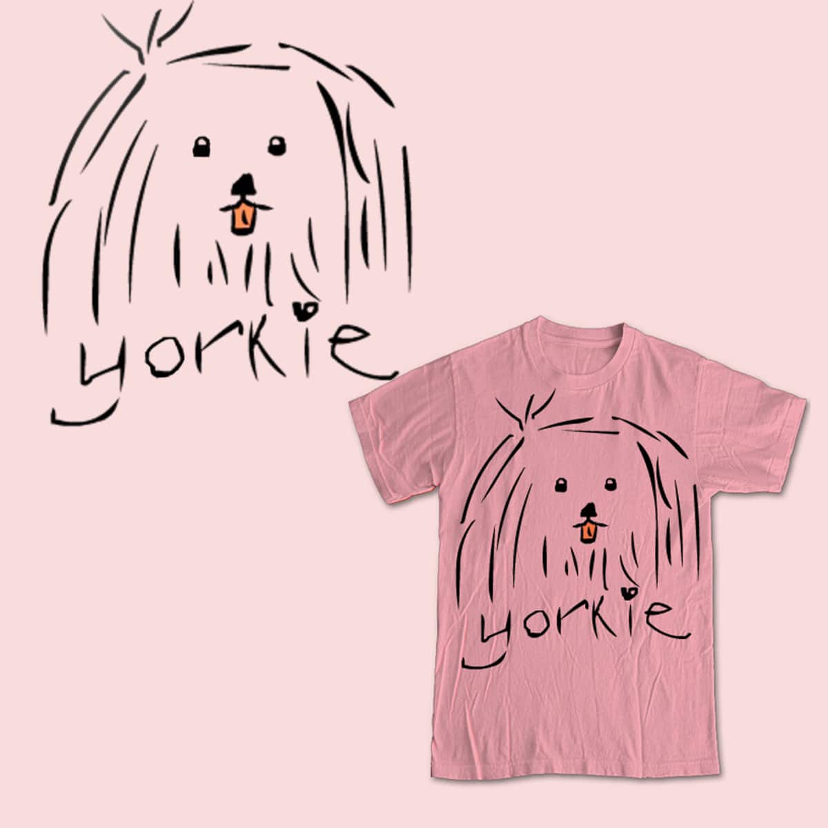 Yorkie Love by blackblackocean on Threadless