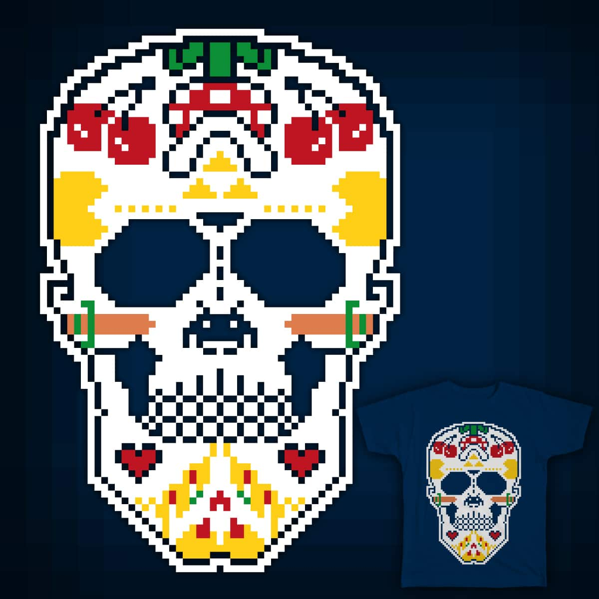 8-bit sugar skull by erreeme on Threadless