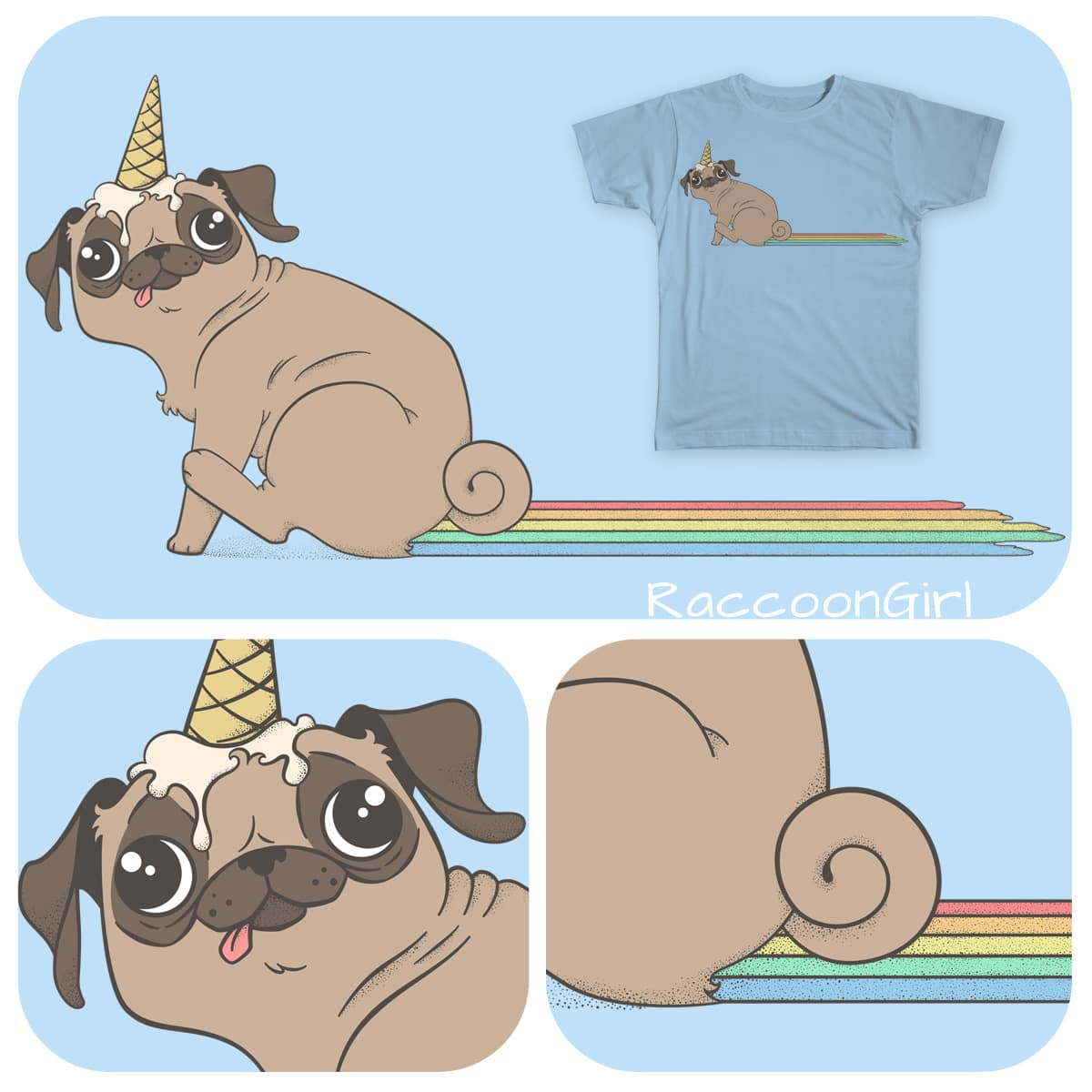 The Magical Pugicorn by RaccoonGirl on Threadless