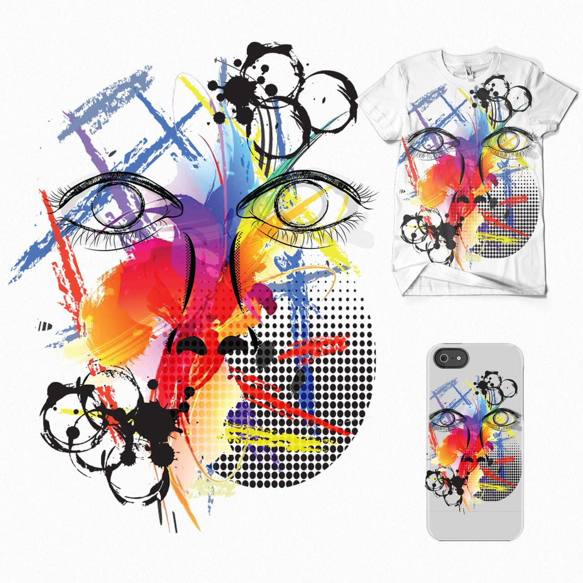 Face of colors by Anjopinklizard on Threadless