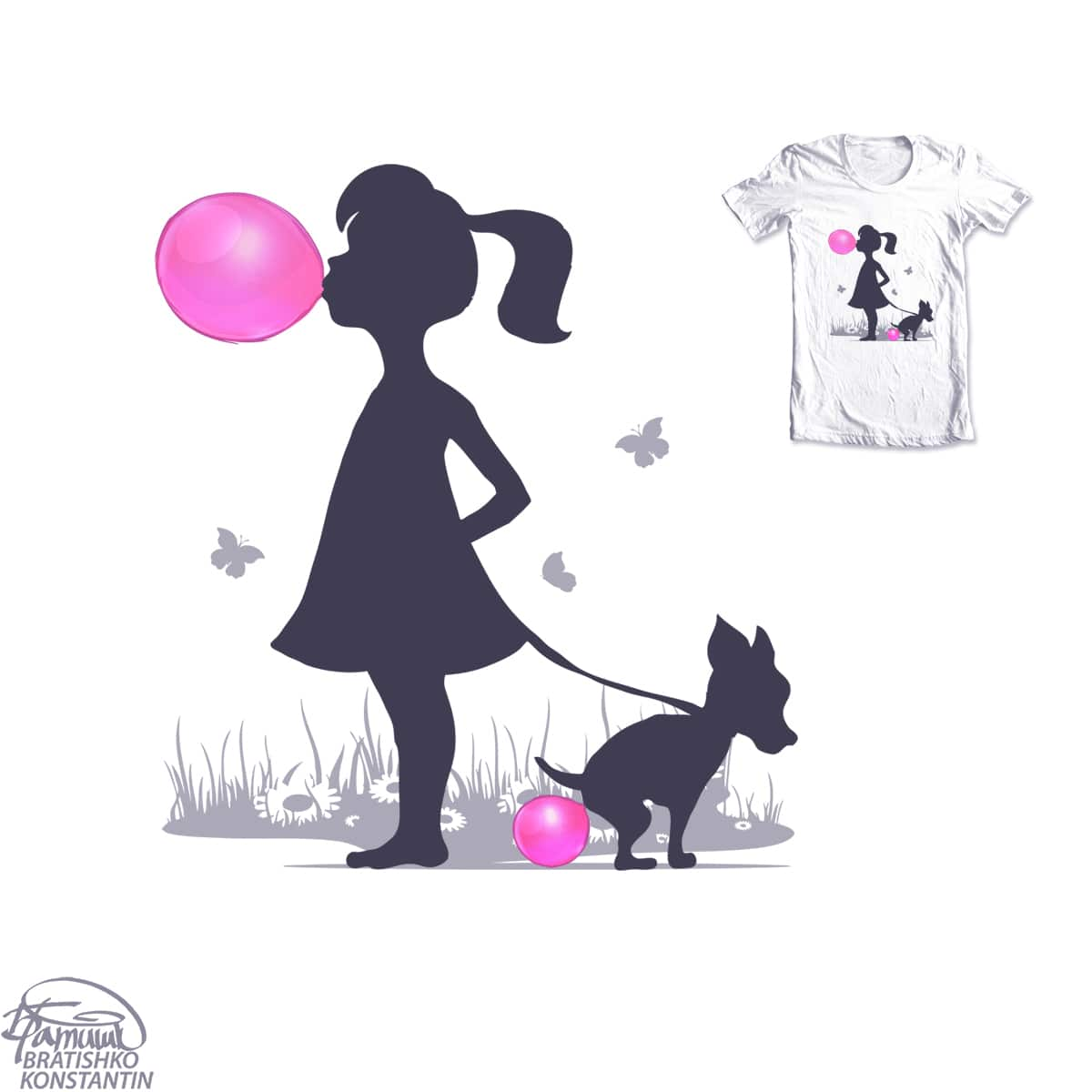 little girl and pooping dog by KONSTANTIN BRATISHKO on Threadless