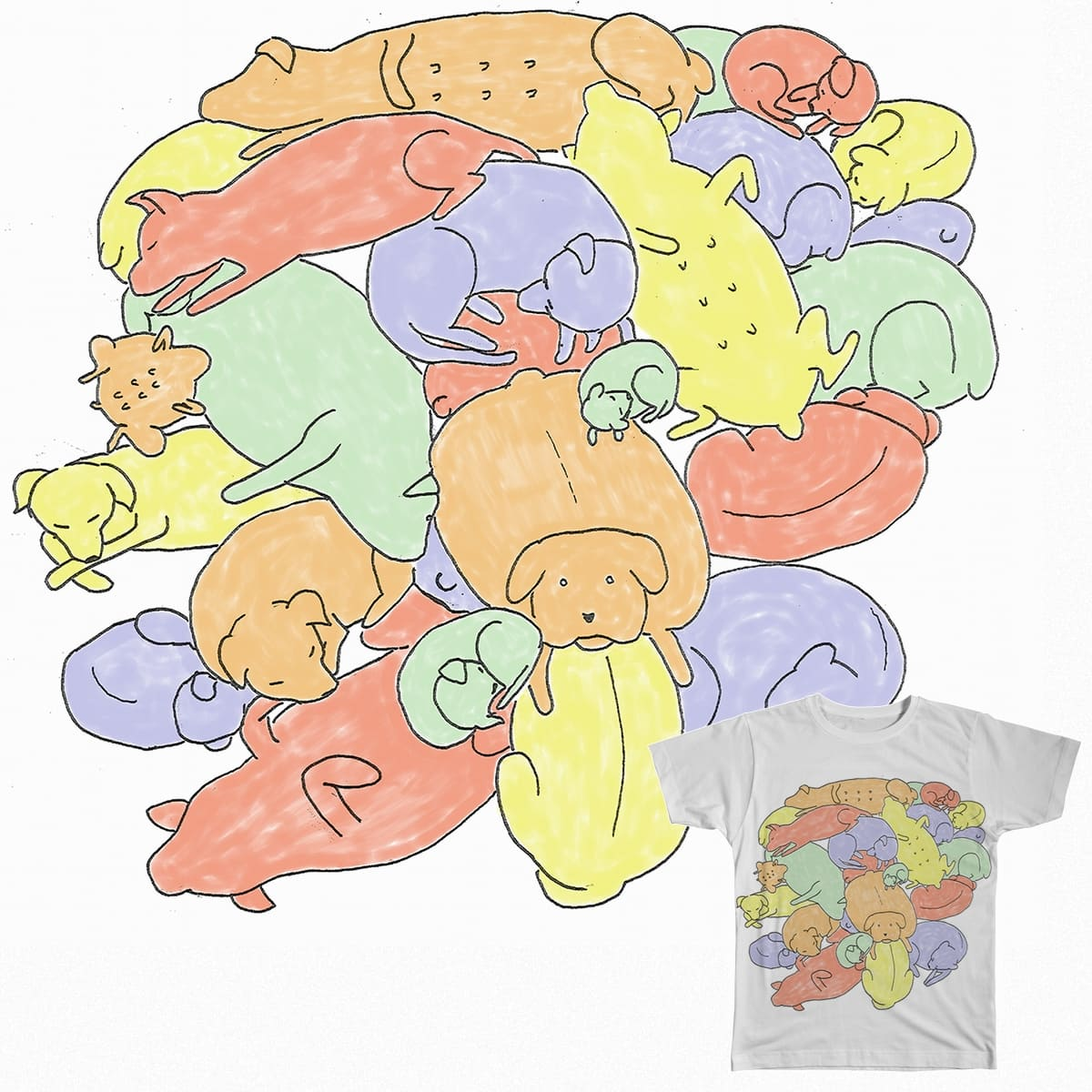Dog Pile! by PopBang on Threadless
