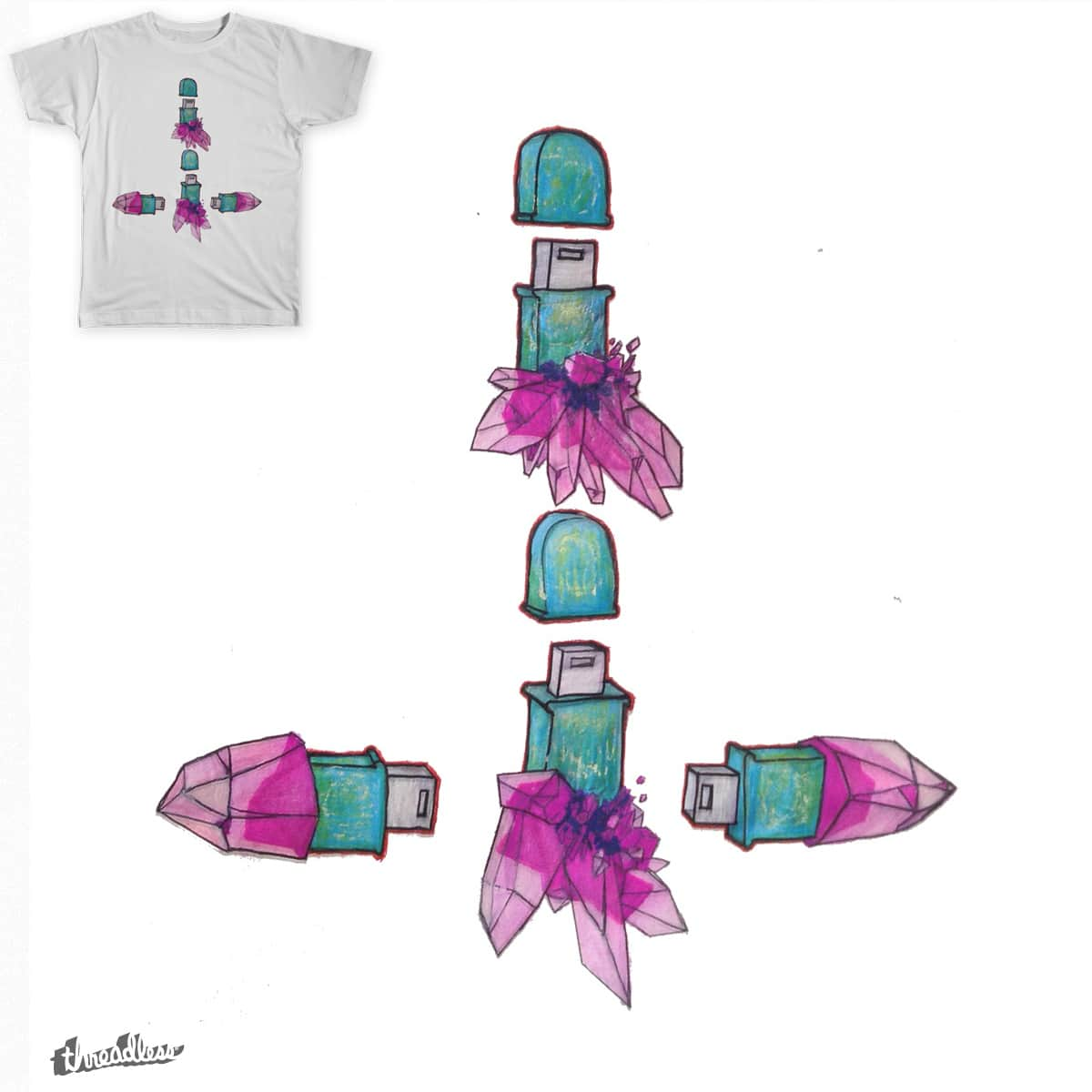 Inverted Crystal USB Cross by artbutt on Threadless