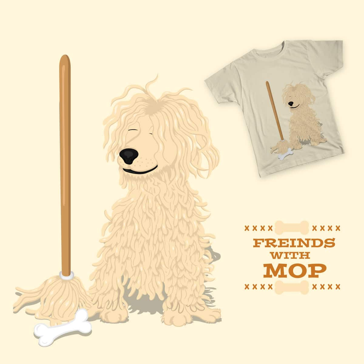 Friends With Mop by Pancake_Panda on Threadless
