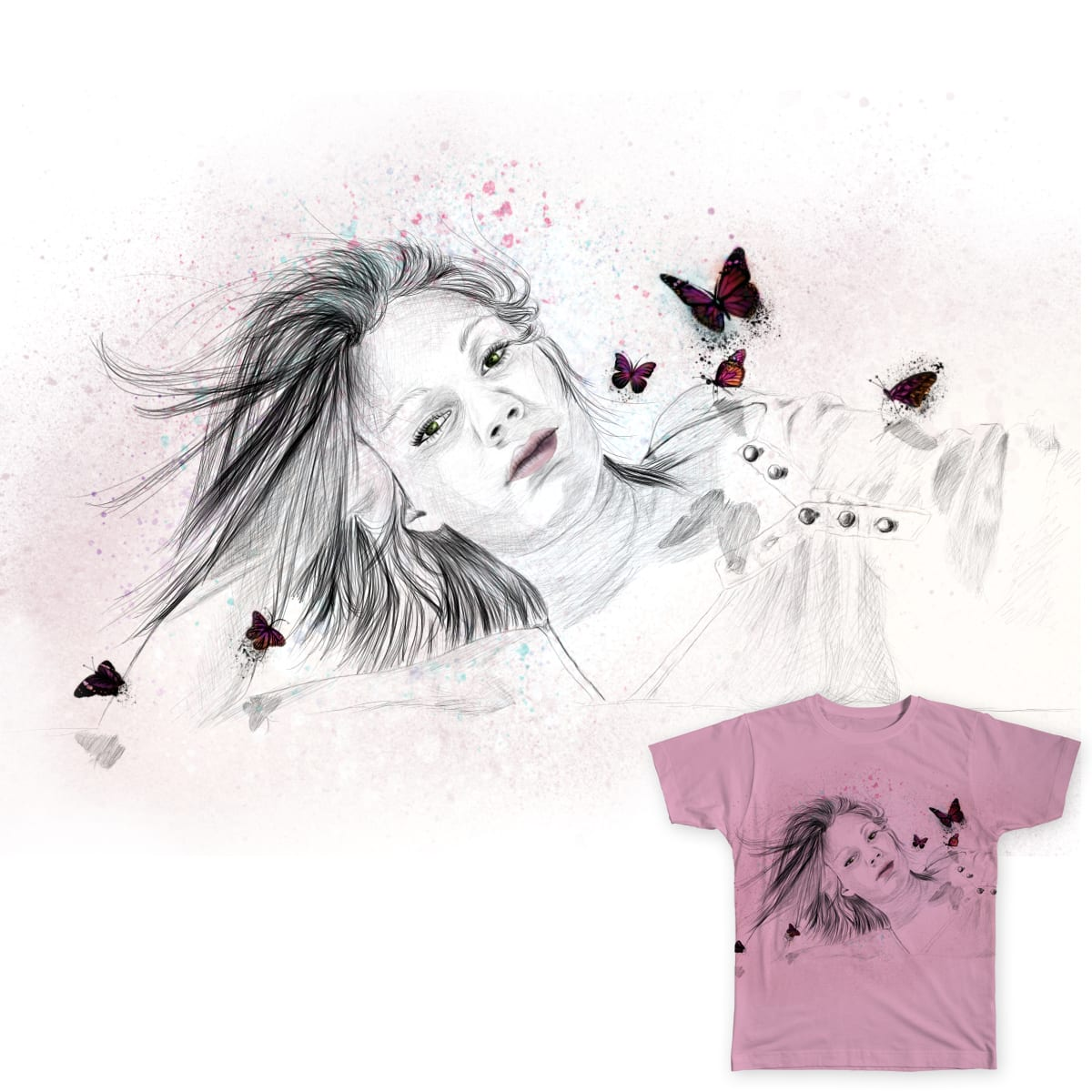 Beautiful girl with buterflies by vixibly on Threadless