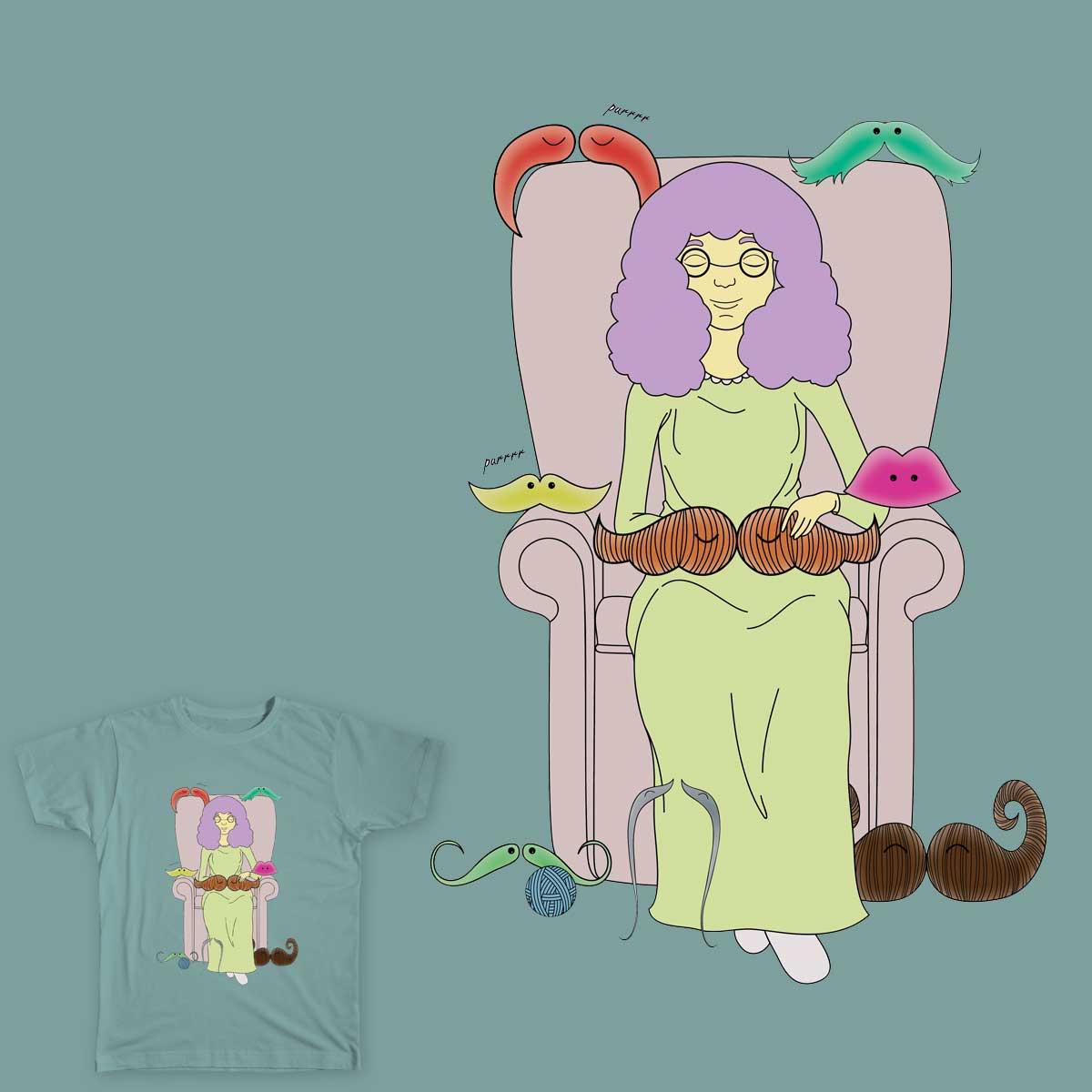 Crazy 'Stache Lady by kalmansor on Threadless
