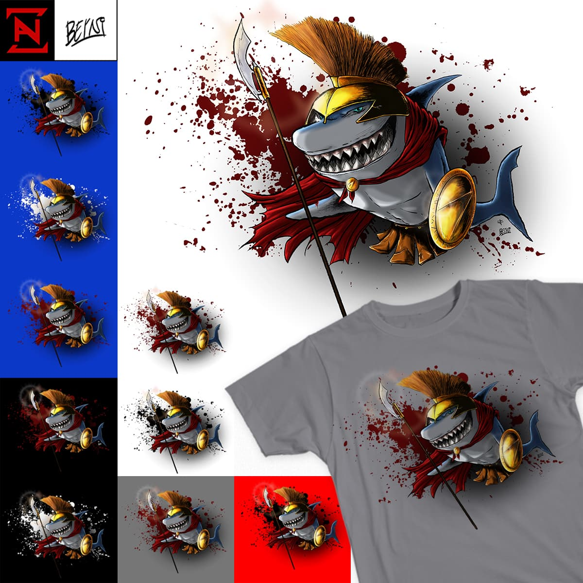 Spartan Shark by Zanza Harara and BerniOnLine on Threadless