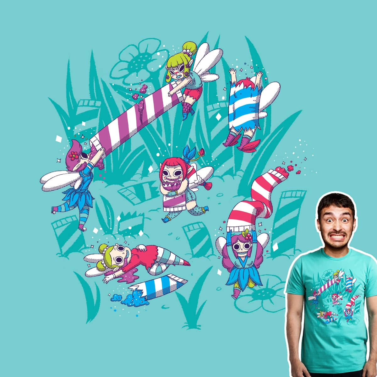 Pixies Eating Pixie Sticks by TheInfamousBaka and FRICKINAWESOME on Threadless