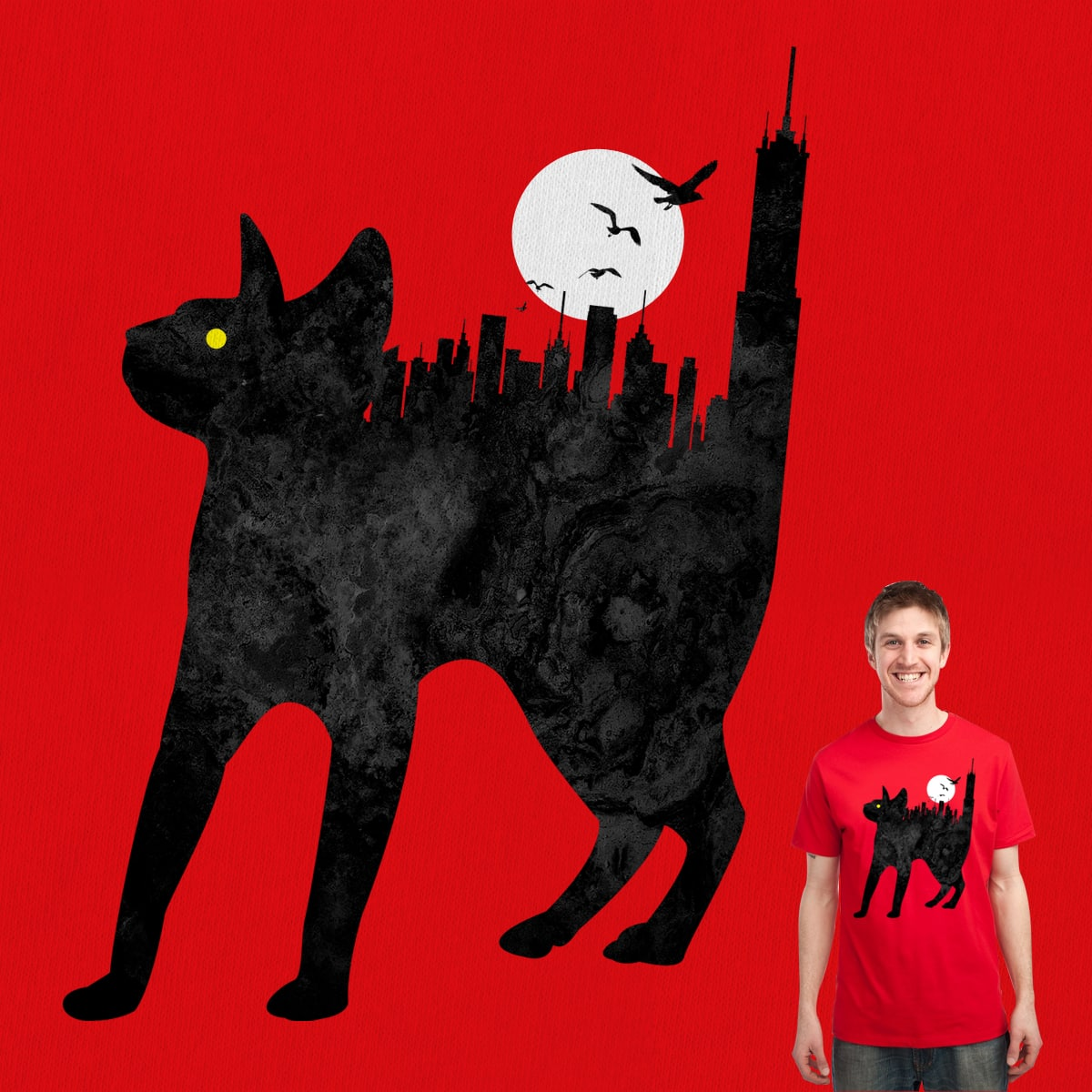 Scaredy Cat In The Big City by Joe Conde on Threadless