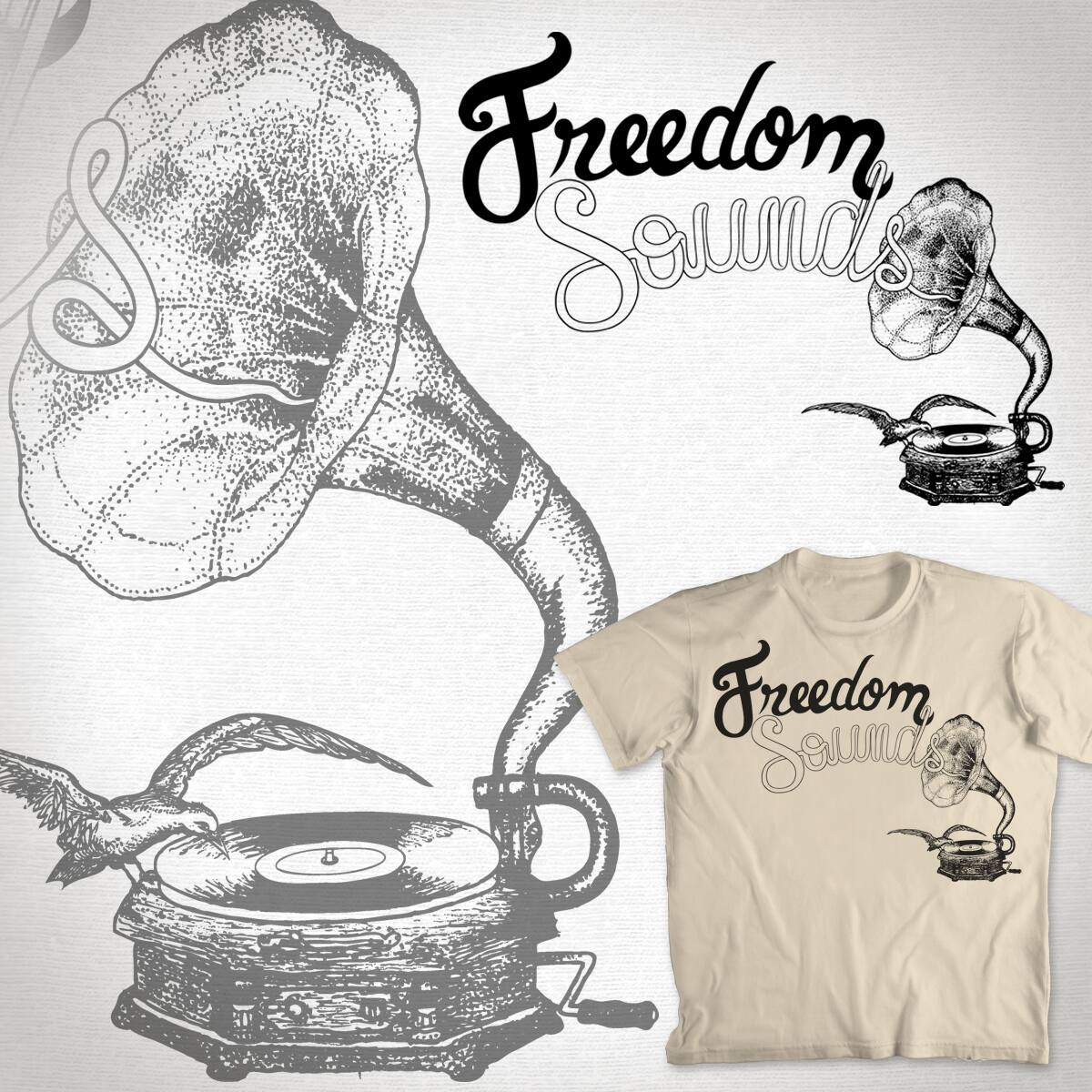 Freedom Sounds by paulomonnerat on Threadless
