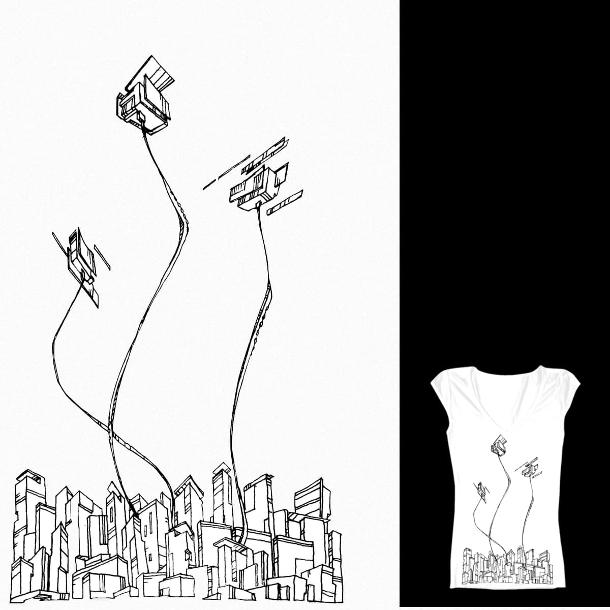 UP FROM THE CITY (B&W) by guibka on Threadless