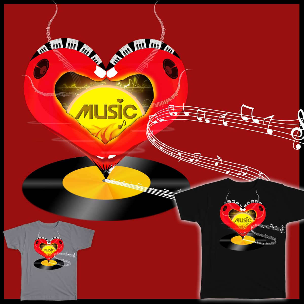 Your Heart Spins The Music!!! by jwillpro on Threadless