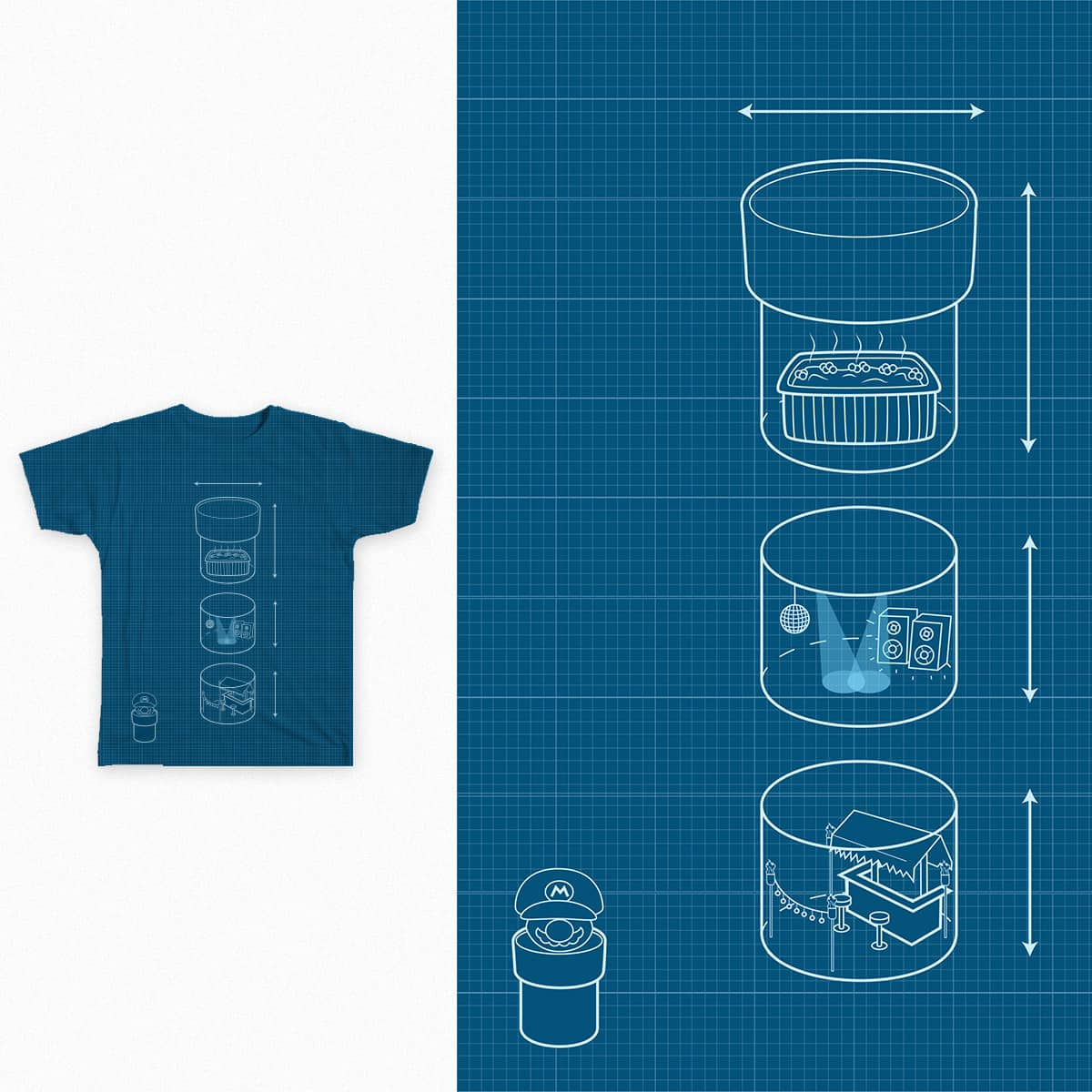 Pipin' Blueprint by alcapurrias on Threadless