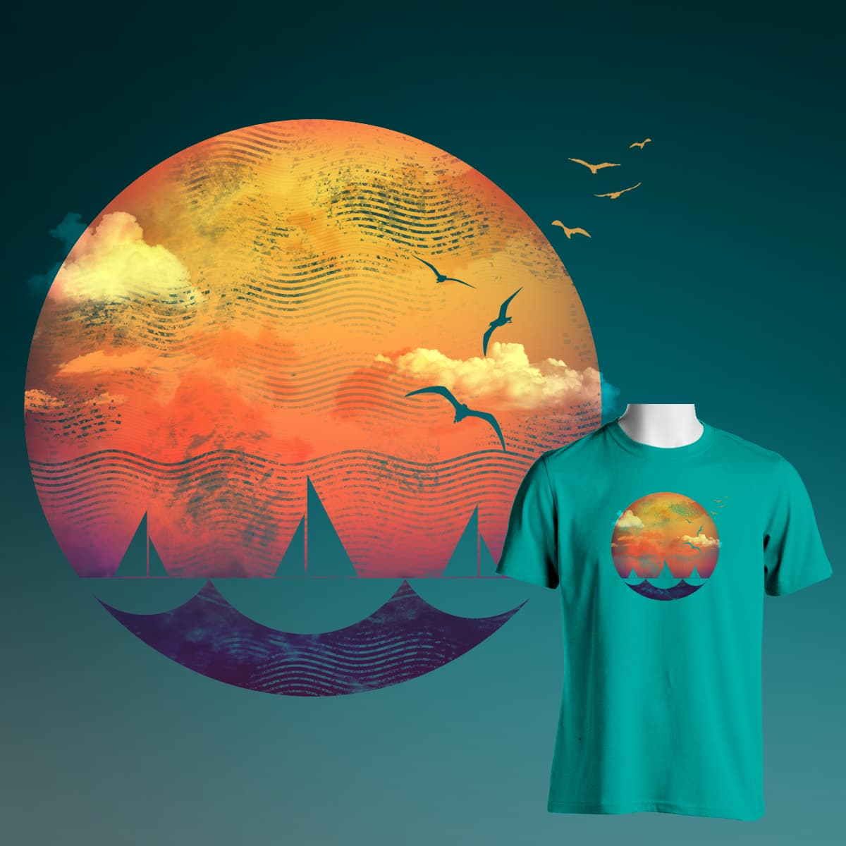 SAILING INTO THE SUNSET by masterpiece.ison on Threadless