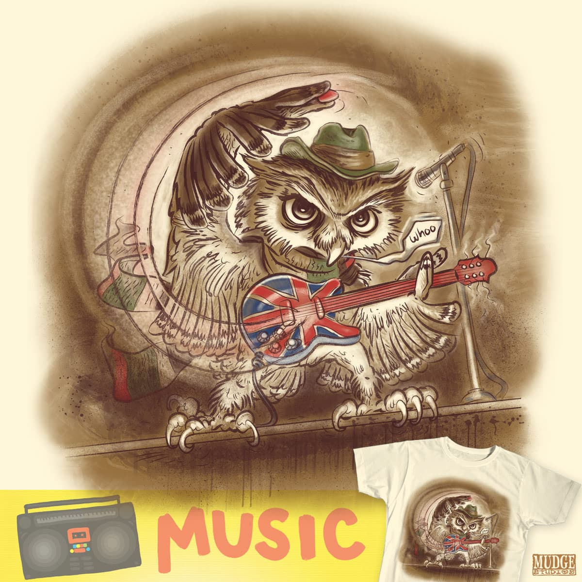 Rockin Whoo Owl by MudgeStudios on Threadless