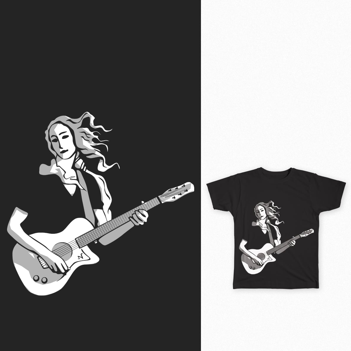 Venus playing guitar by bulo on Threadless
