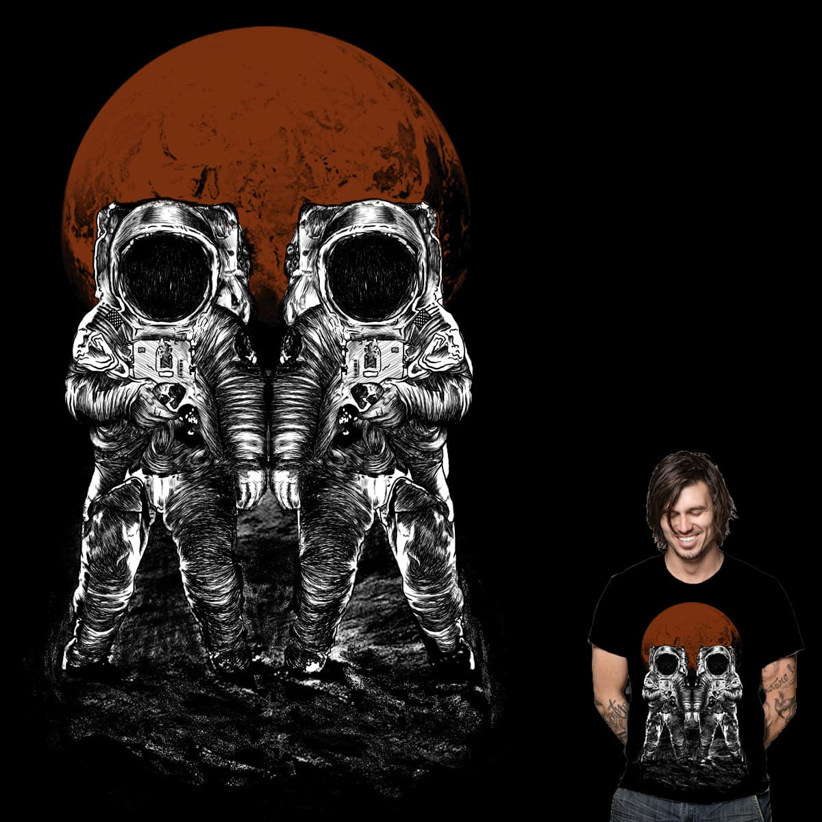 two astronauts by gupikus on Threadless