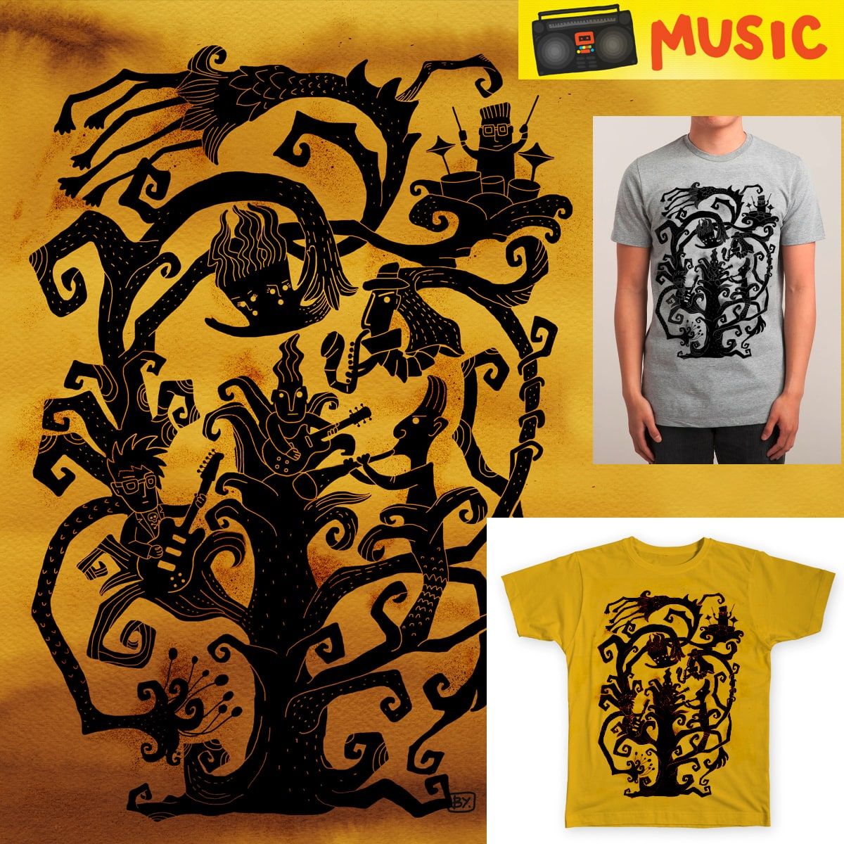 Jam Session Tree by baba yagada on Threadless
