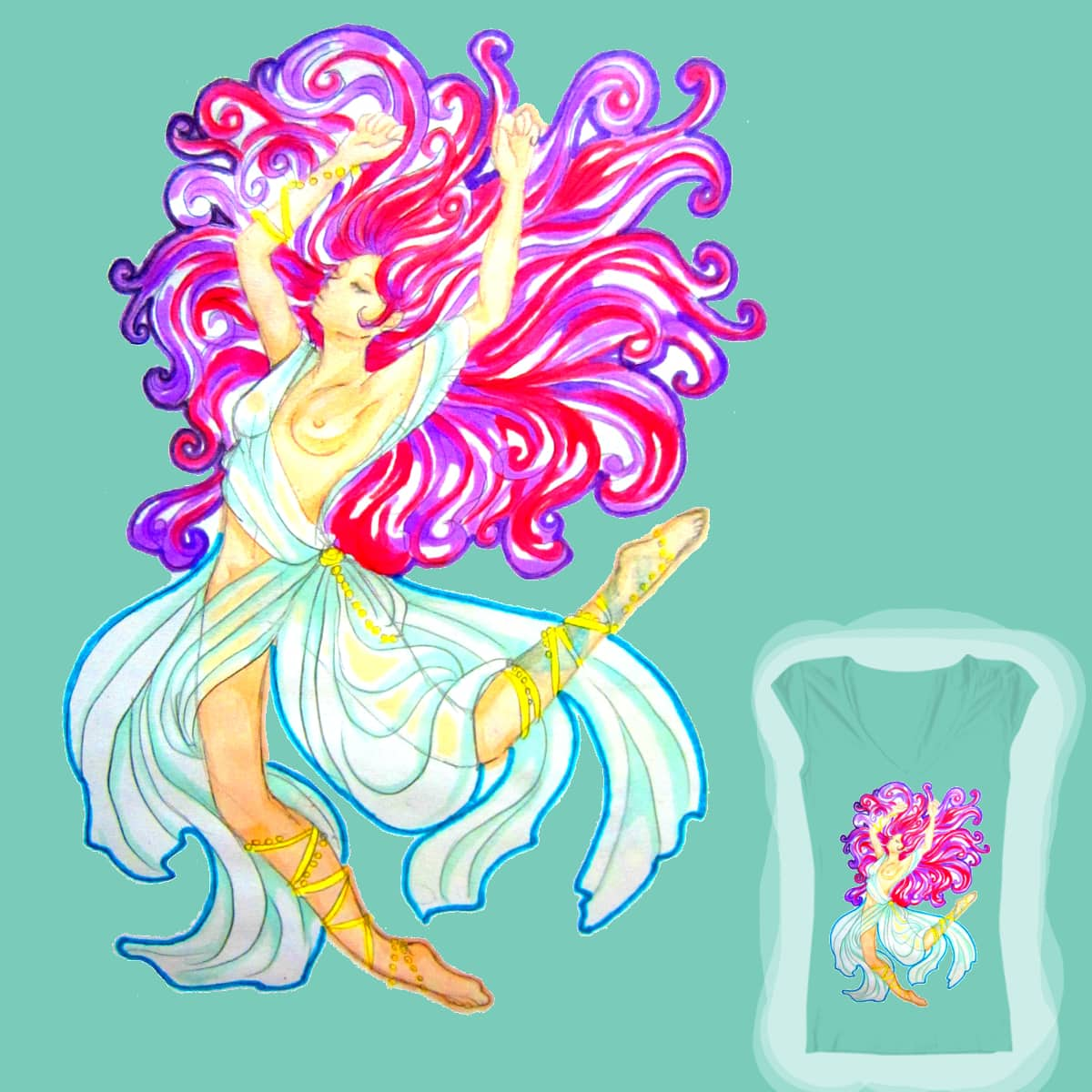 Floating girl by Vulpes_Zerda on Threadless