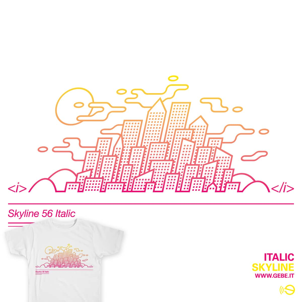 Italic skyline by gebe on Threadless