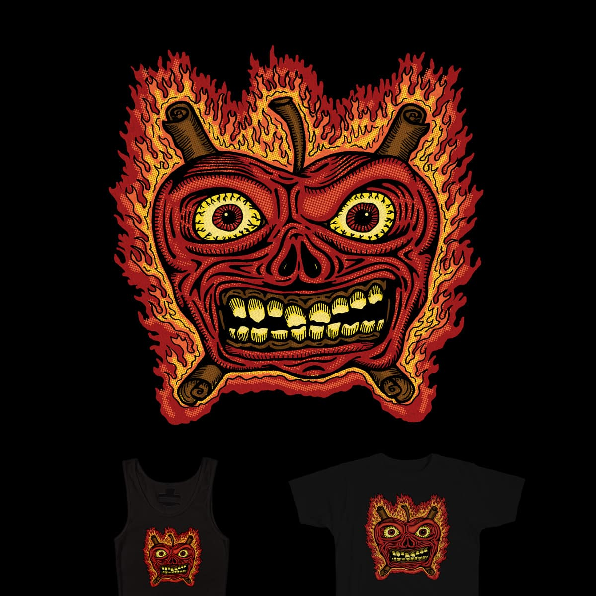 Flaming Apple Inferno by SteveOramA on Threadless