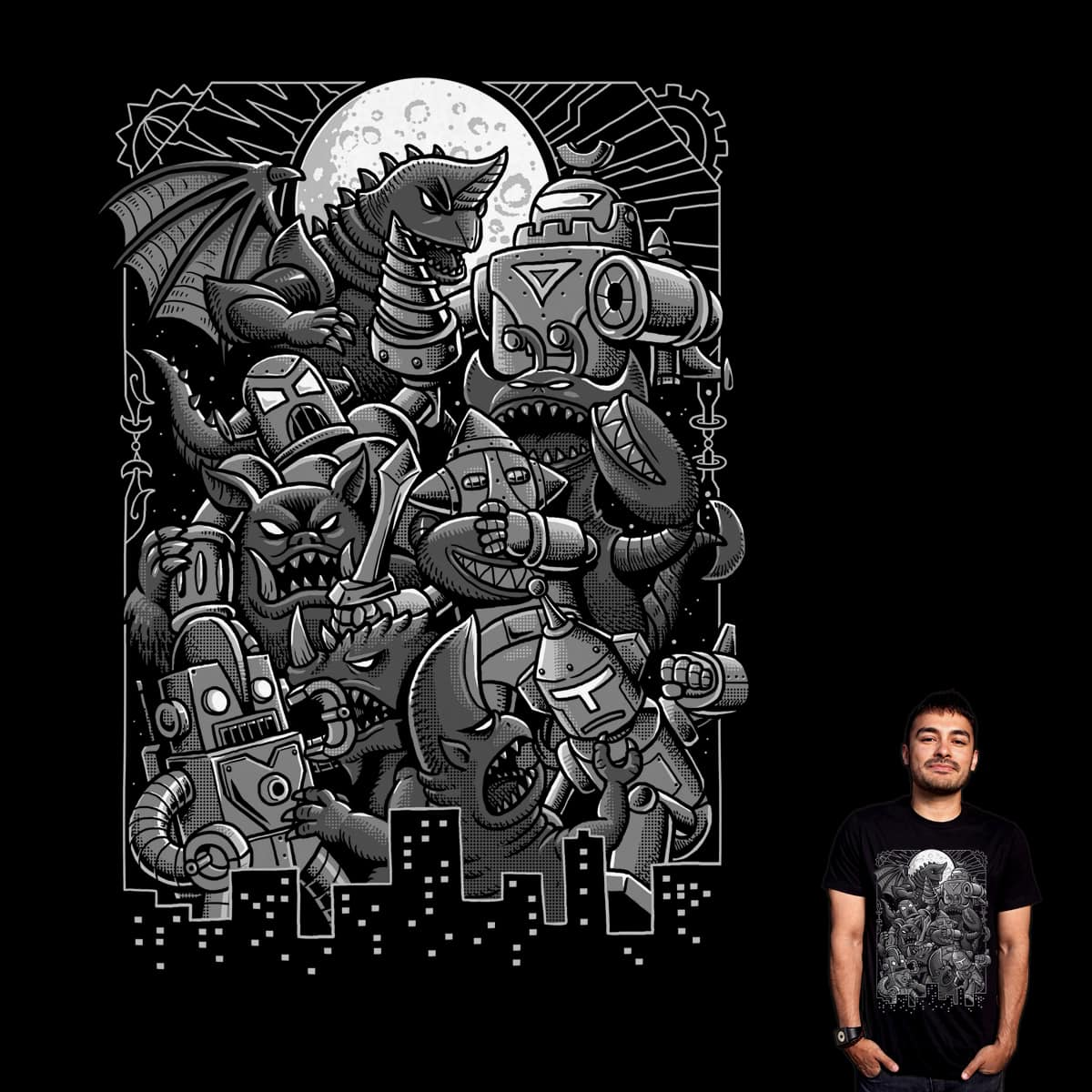 Robots And Monsters by ben chen on Threadless