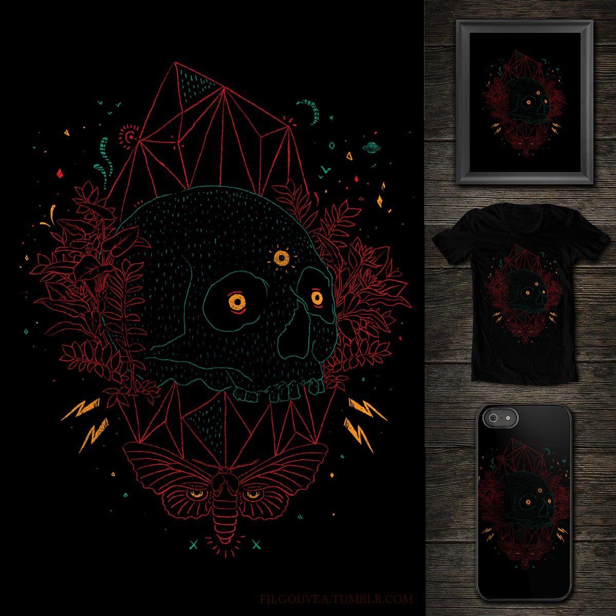 Neon skull by filgouvea on Threadless