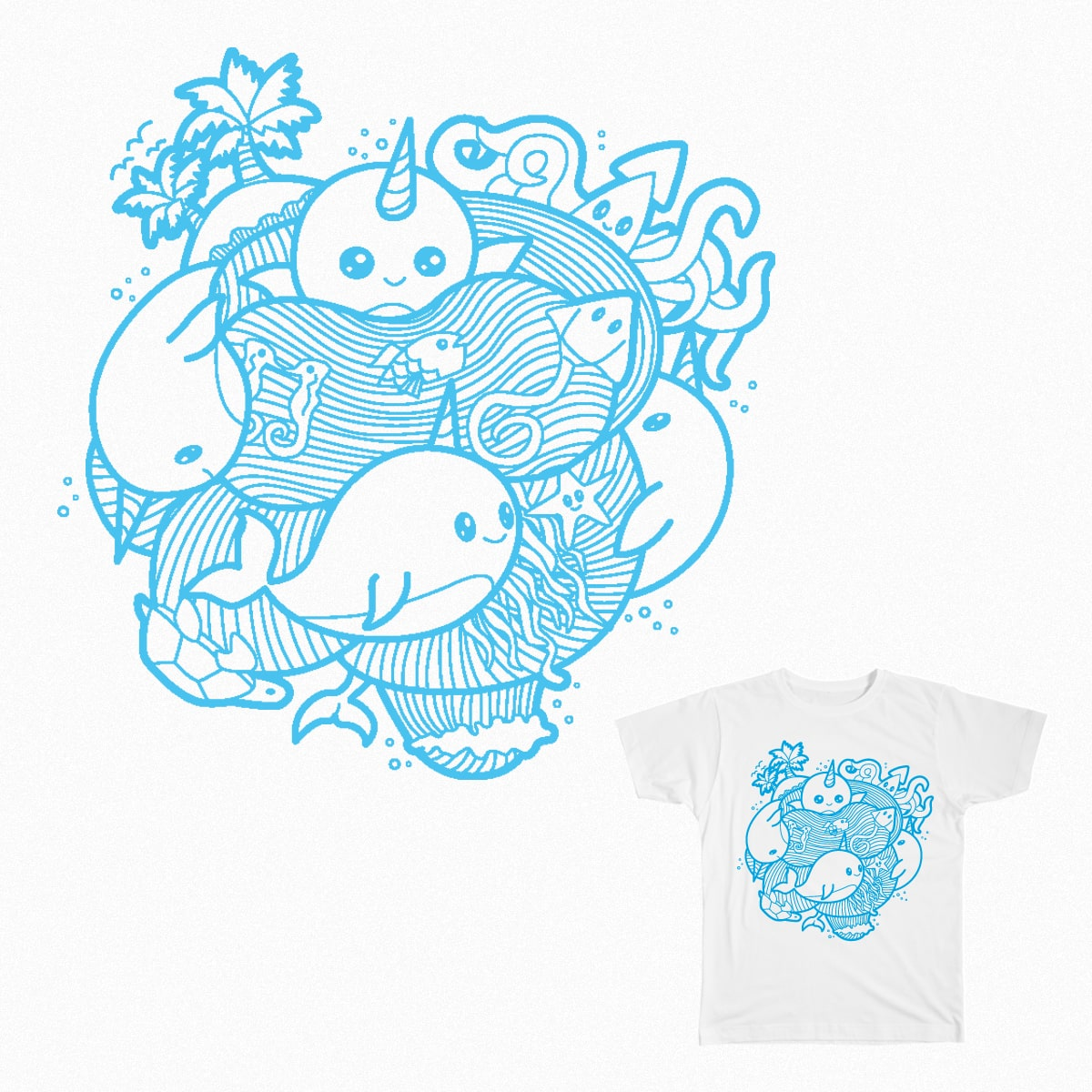 Narwhal Paradise by pcsterry on Threadless