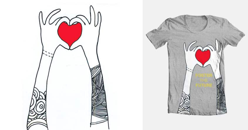 Foster the Future: Heart Hands  by letsRovs on Threadless