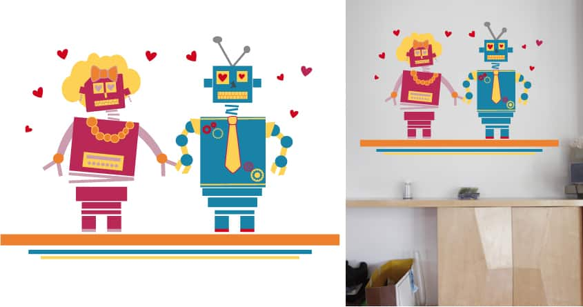 Robots in love by Falales on Threadless