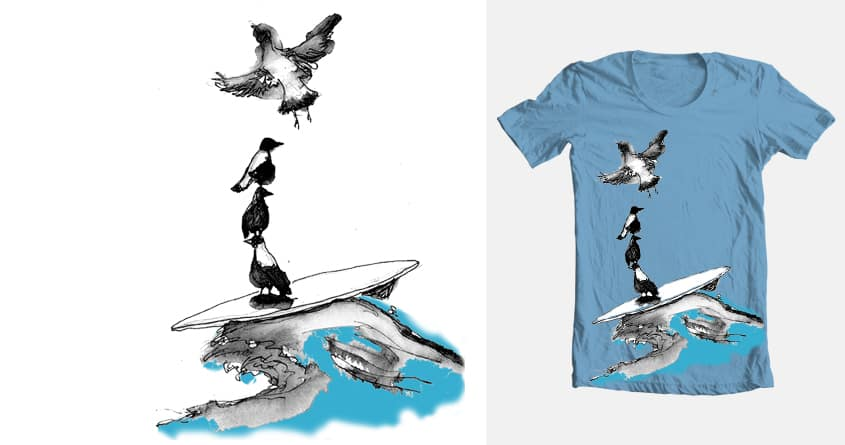 Surfing magpies by siodo on Threadless