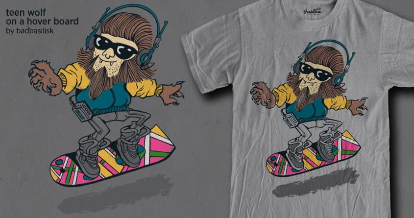 teen wolf on a hover board by badbasilisk on Threadless