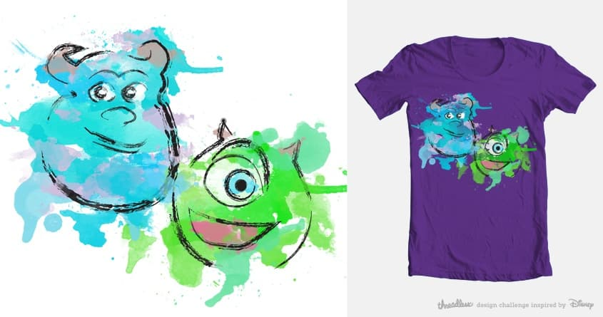 Mike and Sully Watercolor by Dear Jaime on Threadless