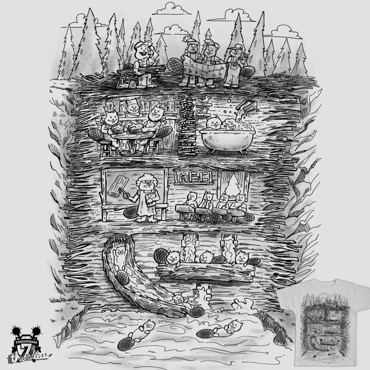 Mr Beaver's Wonder Dam by nickv47 on Threadless