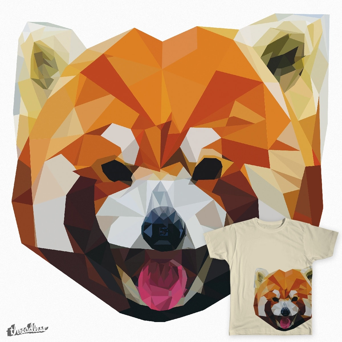 Geometric Red Panda by mbps on Threadless