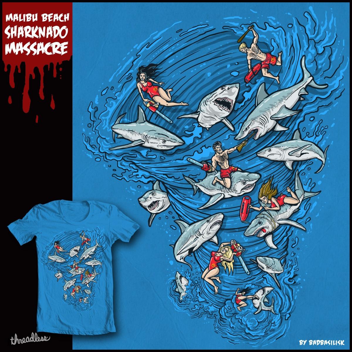 Malibu Beach Sharknado Massacre by badbasilisk on Threadless