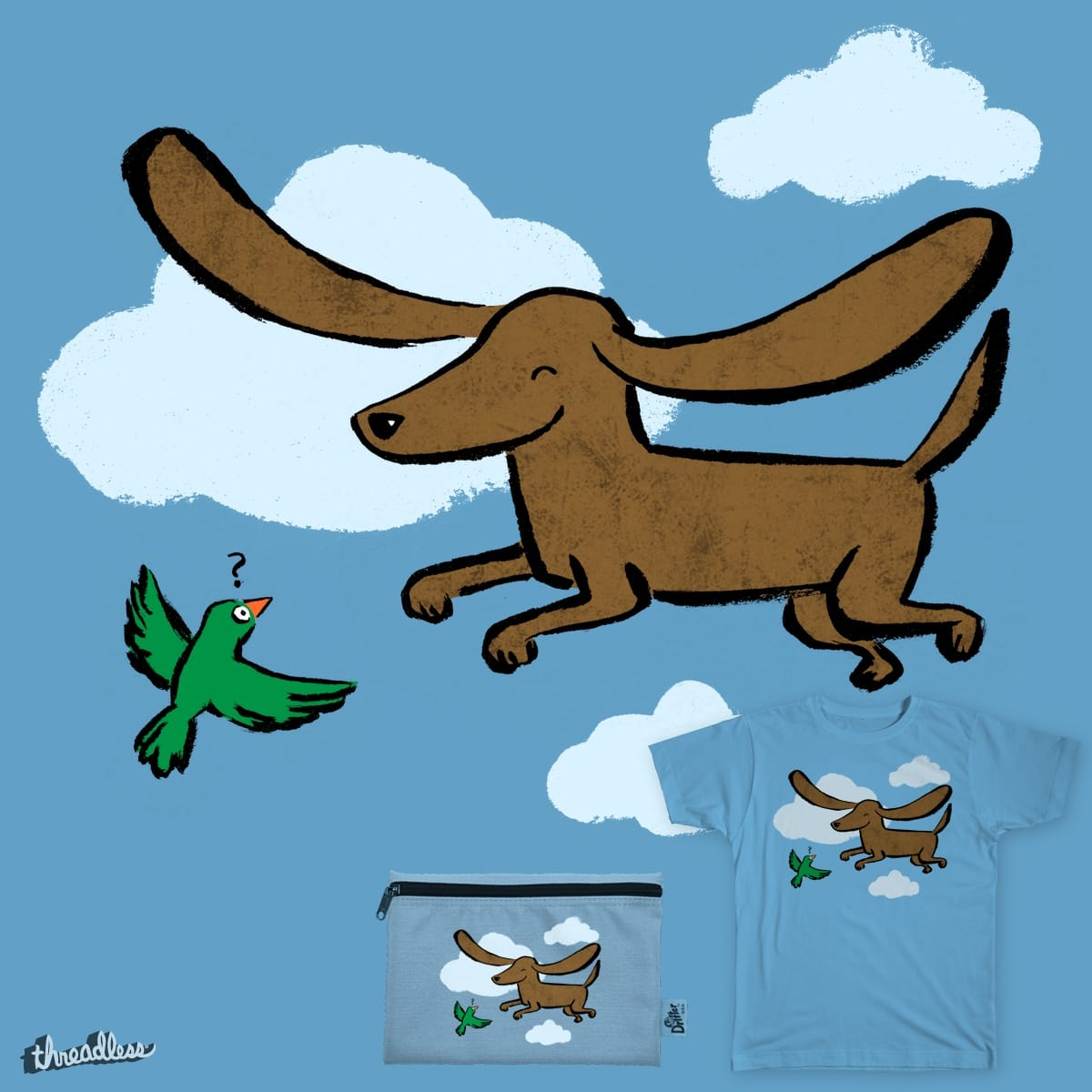 Ringo the flying sausage dog by theserestlesshands on Threadless