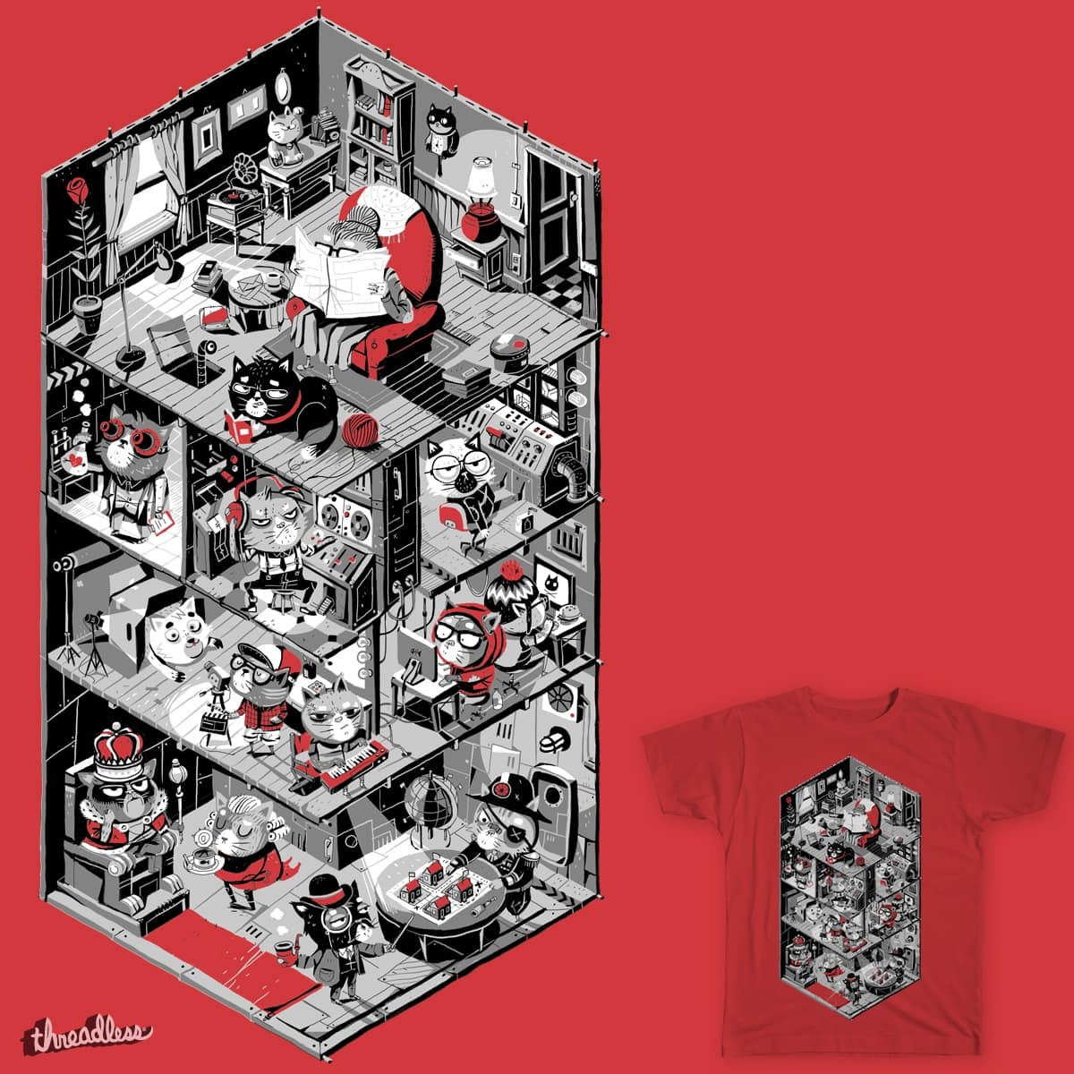 Big Kitty Is Watching You by malo_tocquer on Threadless