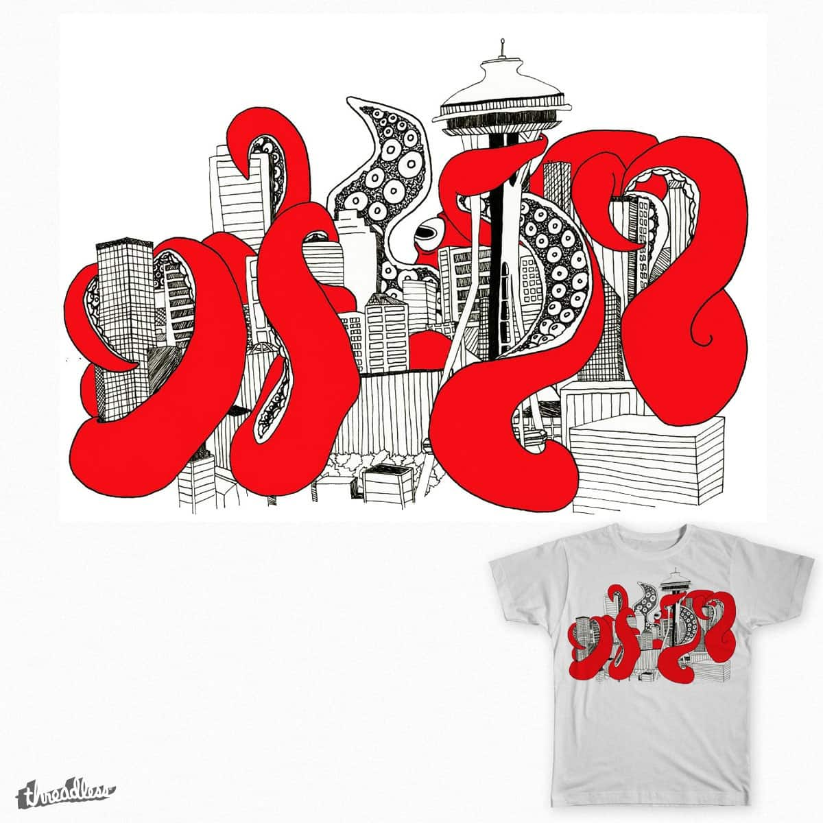 Octopus Eating Seattle by margaret_hayford on Threadless