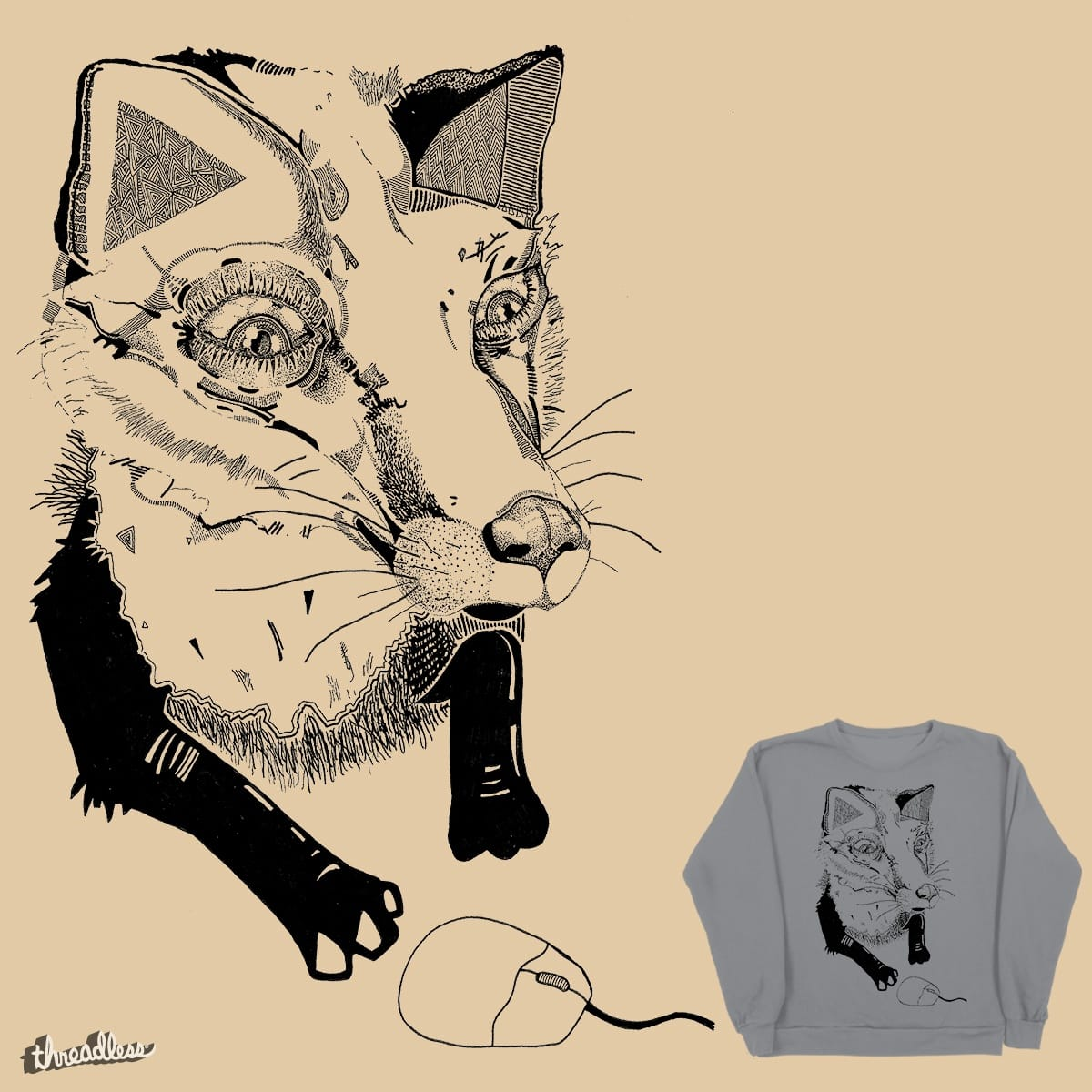 Fox Chasing a Mouse  by thelindenforest on Threadless