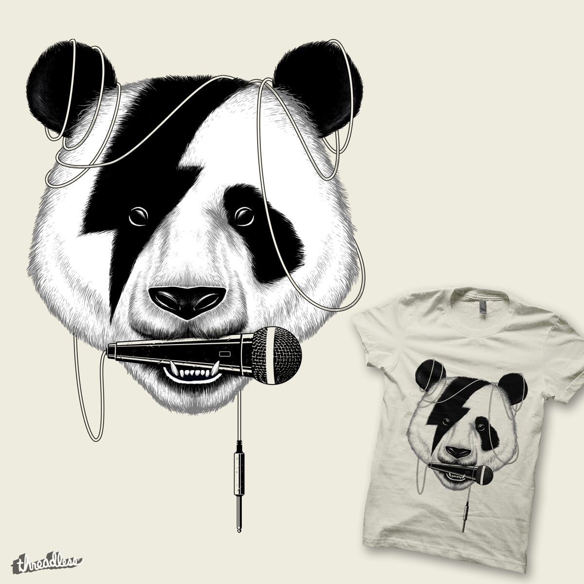 Panda Rocks! by azrhon on Threadless