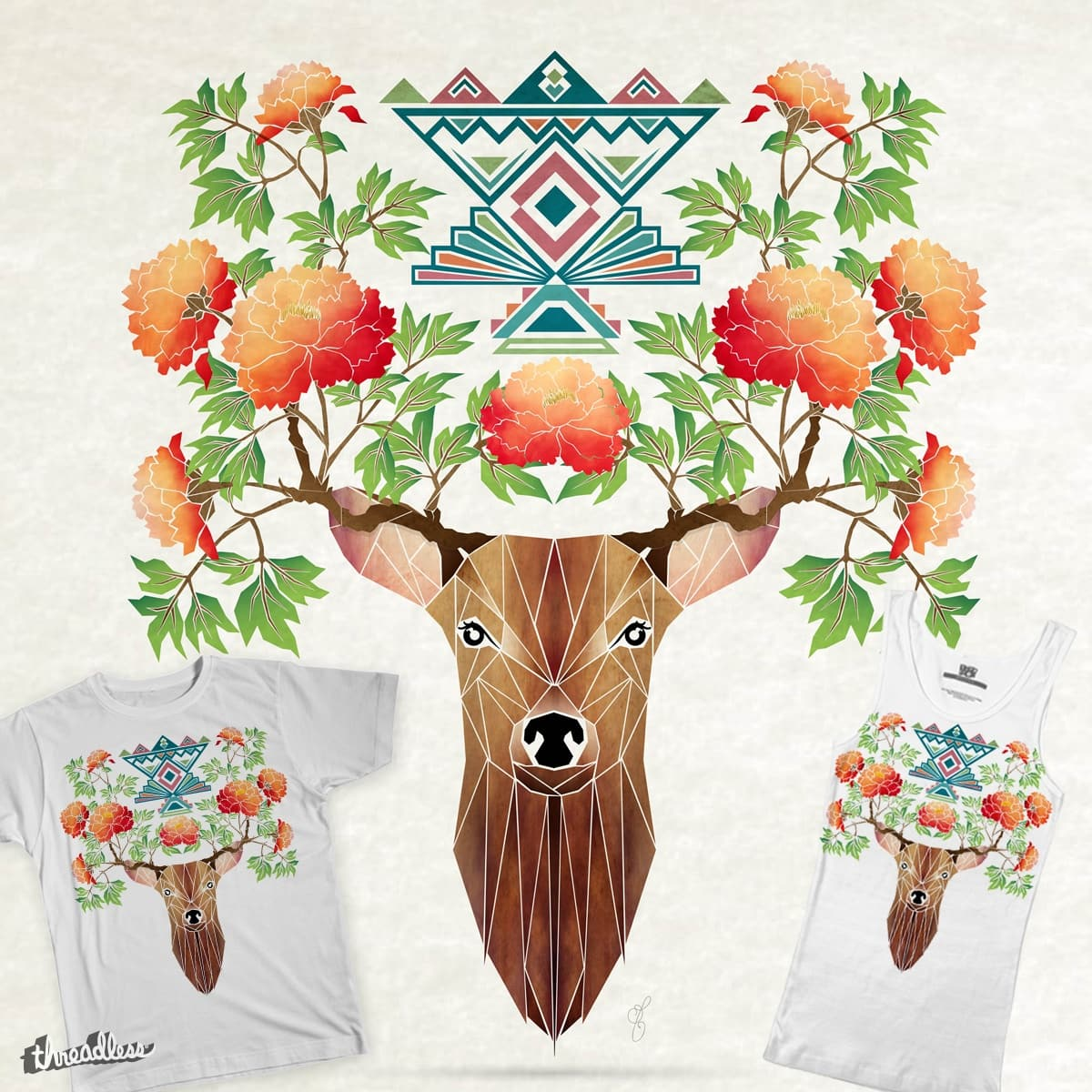 deer flowers by Manoou on Threadless