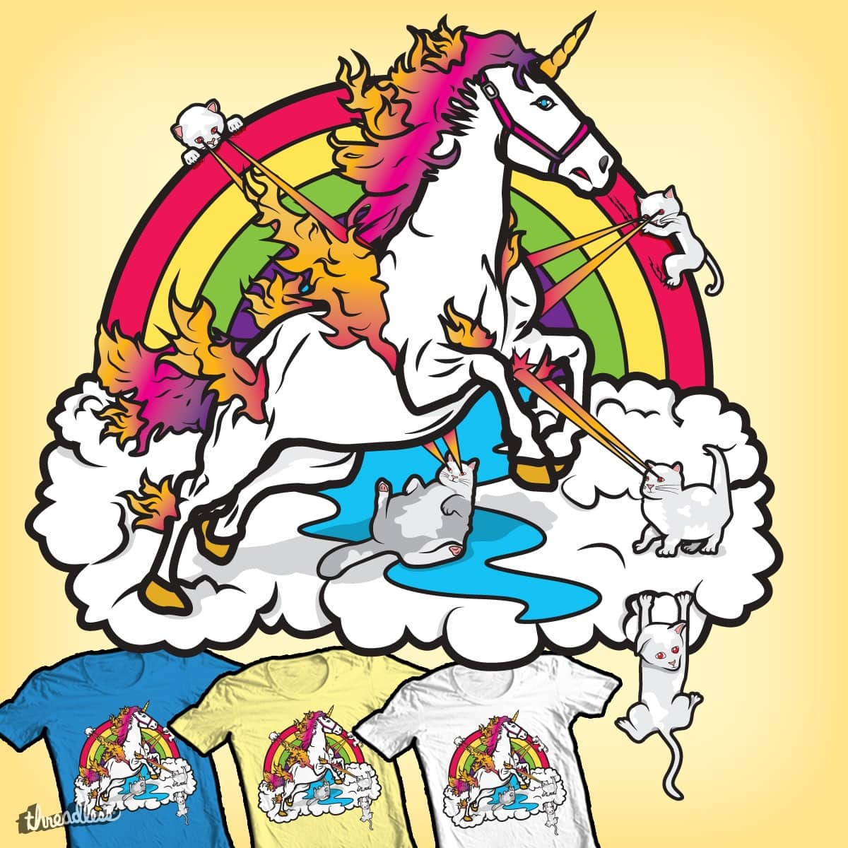 Laser-Shooting, Rainbow-Hugging, Cuteness-Exuding Cats From The Sky (Playing with a Unicorn)  by PolySciGuy on Threadless