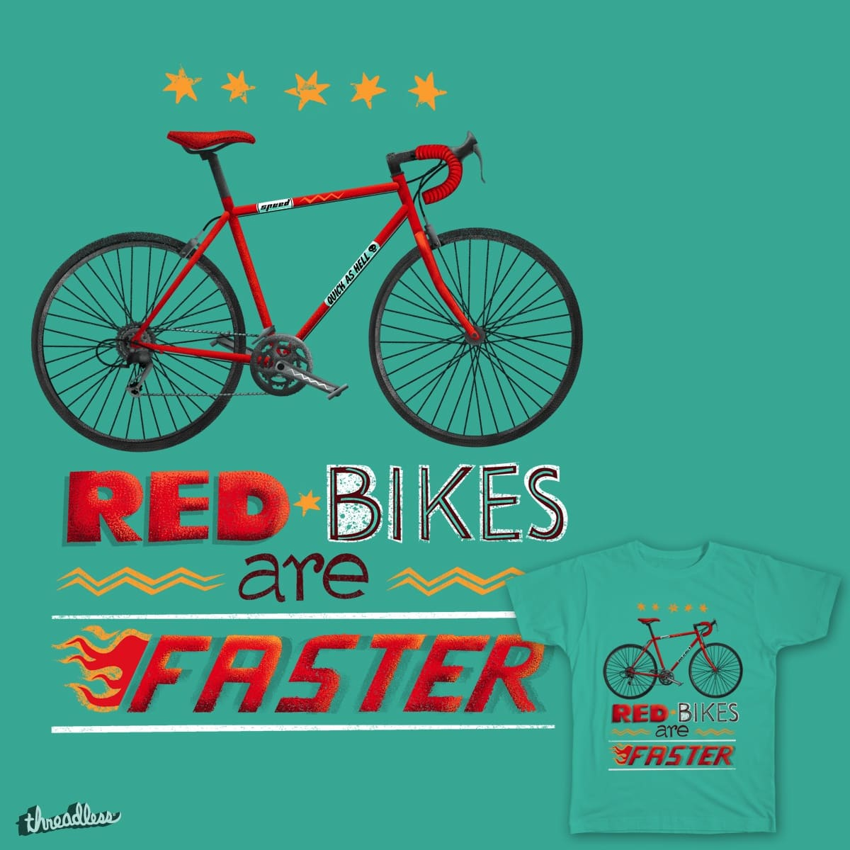 Red bikes are faster by deadsquirrel on Threadless