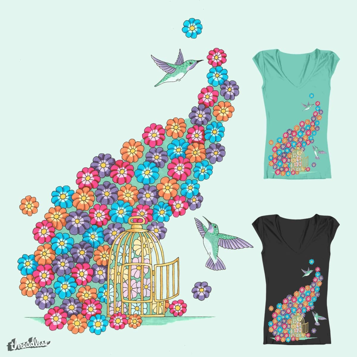 Hummingbirds and flowers by sunny.margaret on Threadless